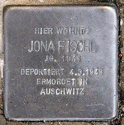 Photo of Jona Fischl brass plaque