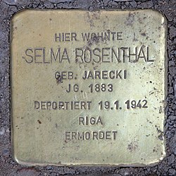 Stolperstein nürnberger str 16 (charl) selma rosenthal