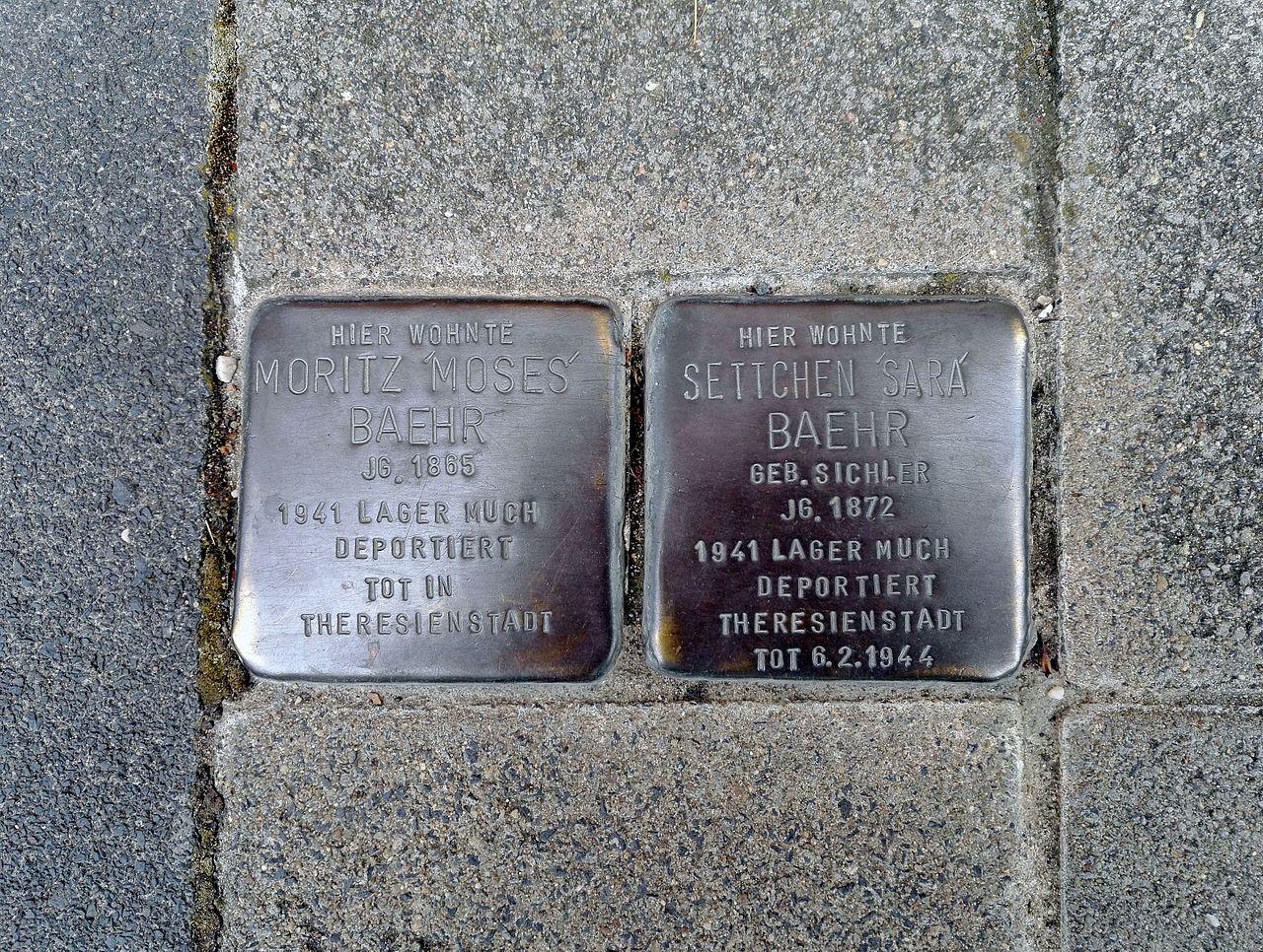 Stolpersteins Moritz 'Moses' Baehr, Settchen 'Sara' Baehr, Friedenstraße 5, Königswinter-Oberdollendorf.jpg