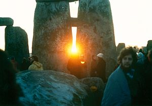 Sunrise between the stones at Stonehenge on th...