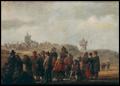Strandschene met vissers die hun vangst verkopen - Jan de Vos IV.PNG
