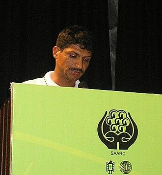 Suman Pokhrel - Pokhrel reading at the SAARC Festival of Literature 2010 in New Delhi