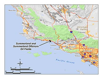 Summerland Oil Field - Location of Summerland and Summerland Offshore oil fields in southern California; other oil fields are shown in dark gray.