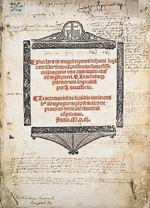 Peter of Spain - Frontispiece of work by Peter of Spain