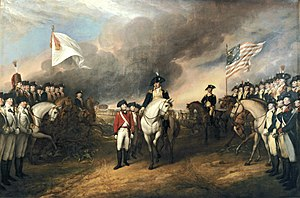 France–United States relations - Surrender of Lord Cornwallis depicting the English surrendering to French (left) and American (right) troops.