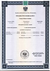 Un diploma di maturità del 2008 (intitolato ?wiadectwo dojrza?o?ci, cioè