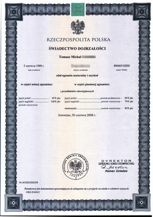 Matura - A 2008 matura certificate