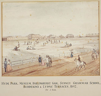 Australian Museum - Hyde Park with the Museum under construction in the distance by John Rae (1842)