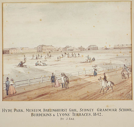Hyde Park with Sydney Grammar School (at that time Sydney College) in the distance, 1842 SydneyGS1842.jpg