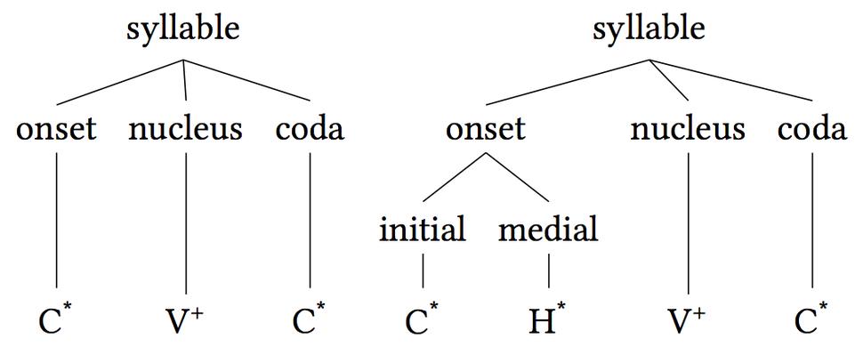 Syllable onset nucleus coda