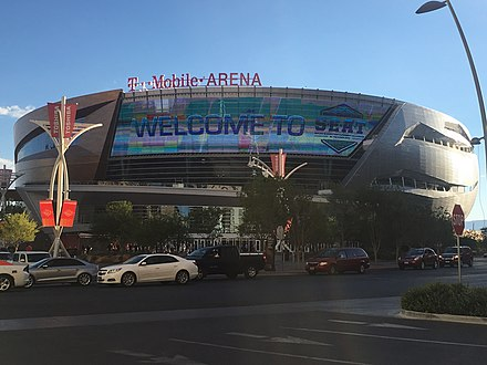 T-Mobile Arena, located in neighboring Paradise, is the home to the Vegas Golden Knights. T-Mobile Arena, Las Vegas (34836465501).jpg