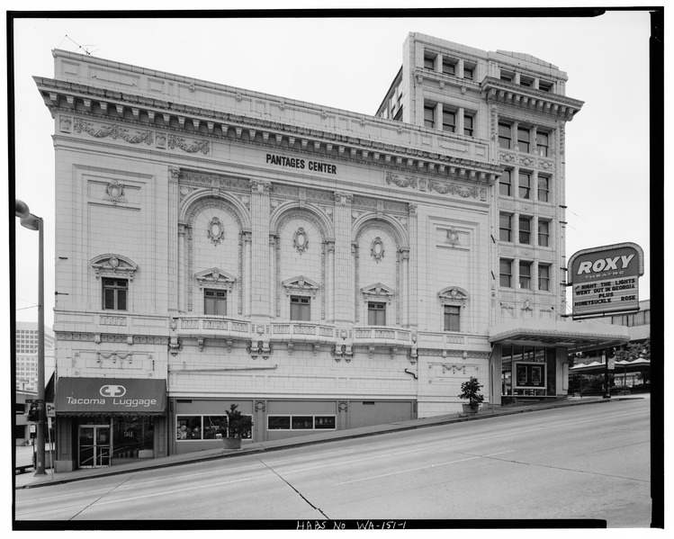 Side view of Pantages Theatre showing ornate terra cotta engravings