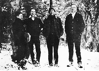 Bob Marshall (wilderness activist) - Four founders of The Wilderness Society: Bernard Frank, Harvey Broome, Bob Marshall, and Benton MacKaye. Picture taken in the Smokies on January 26, 1936