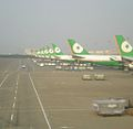 Taiwan Taoyuan International Airport T2 EVA Air tails.jpg