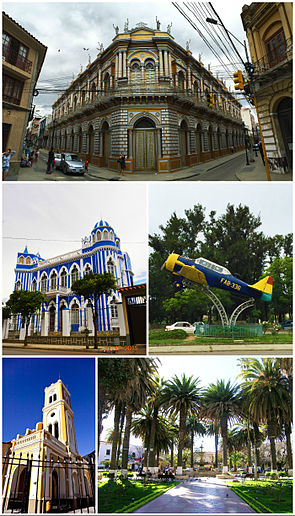 "Clockwise, from top: The Casa de la Cultura; a fighter airplane on display from the Chaco War; the Plaza Luis de Fuentes y Vargas; the church of San Francisco; and the Castillo Azul ""Moisés Navajas""."