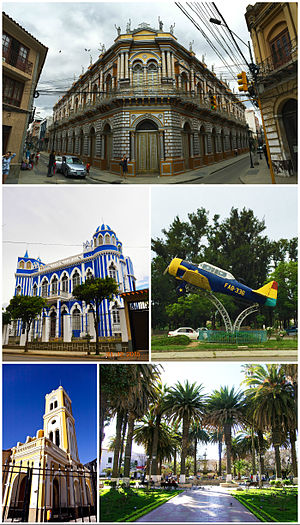 "Tarija - Clockwise, from top: The Casa de la Cultura; a fighter airplane on display from the Chaco War; the Plaza Luis de Fuentes y Vargas; the church of San Francisco; and the Castillo Azul ""Moisés Navajas""."