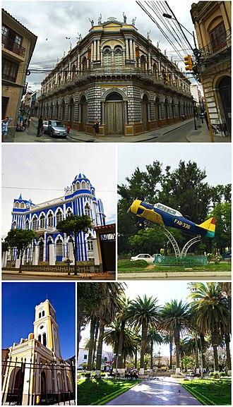 "Tarija - Clockwise, from top: The Casa de la Cultura; a Harvard training aircraft on display; the Plaza Luis de Fuentes y Vargas; the church of San Francisco; and the Castillo Azul ""Moisés Navajas""."