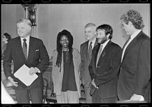 fd137f1e Actress Whoopi Goldberg with Senator Ted Kennedy, Representative Joseph  Kennedy II and fellow actor Robin Williams in 1990.