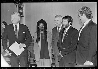 Guinan (Star Trek) - Actress Whoopi Goldberg with Senator Ted Kennedy, Representative Joseph Kennedy II and fellow actor Robin Williams in 1990.