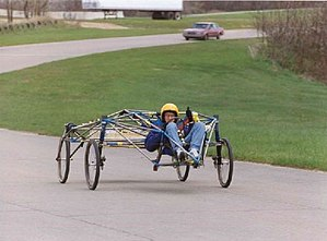 Solar car racing - A test chassis at Ford Proving Grounds in 1992.