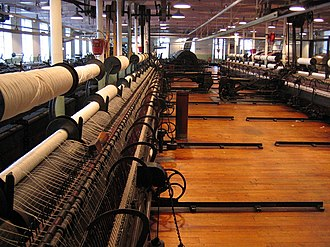 North & South (TV serial) - A spinning room in the Helmshore Mills Textile Museum.