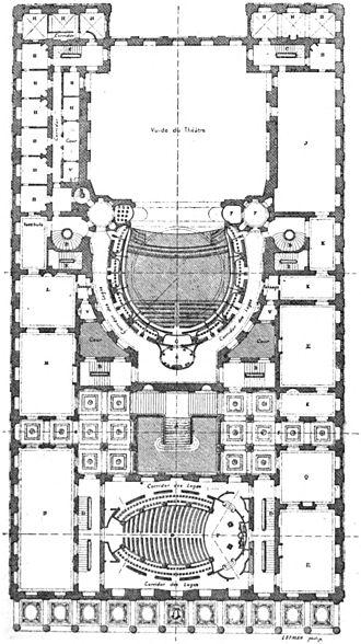 Grand Théâtre de Bordeaux - Image: Théâtre de Bordeaux plan au niveau des secondes loges Marionneau 1881 Google Books