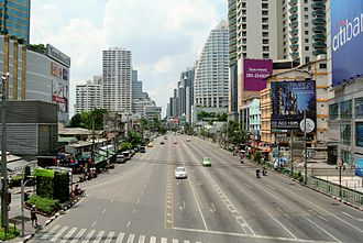 Watthana District - Beginning of Asok Montri Road in Watthana District with Terminal 21 on the left