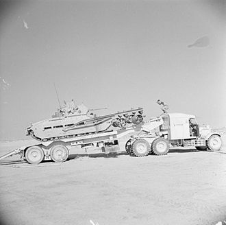 Scammell Pioneer - Matilda tank equipped with AMRA Mk 1a  being loaded onto a Scammell transporter, August 1942.