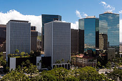 A view of downtown Honolulu from atop Aloha Tower