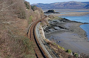 Aberystwith and Welsh Coast Railway - The twisting alignment along the north shore of the Afon Dyfi