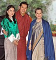 The Chairperson, National Advisory Council, Smt. Sonia Gandhi with the King of Bhutan, His Majesty Jigme Khesar Namgyel Wangchuck and the Bhutan Queen, Her Majesty Jetsun Pema Wangchuck, in New Delhi on January 07, 2014.jpg