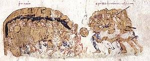 Constantine Gongyles - The Cretan Saracens slay the sleeping Byzantines. Miniature from the Madrid Skylitzes