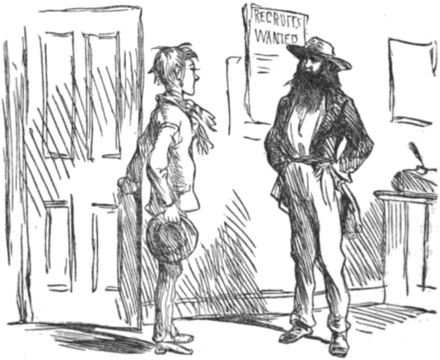 The young Joe Meek, as depicted in Frances Fuller Victor's Eleven Years in the Rocky Mountains and a Life on the Frontier, seeks employment with William Sublette. The Enlistment, from Eleven Years in the Rocky Mountains.png