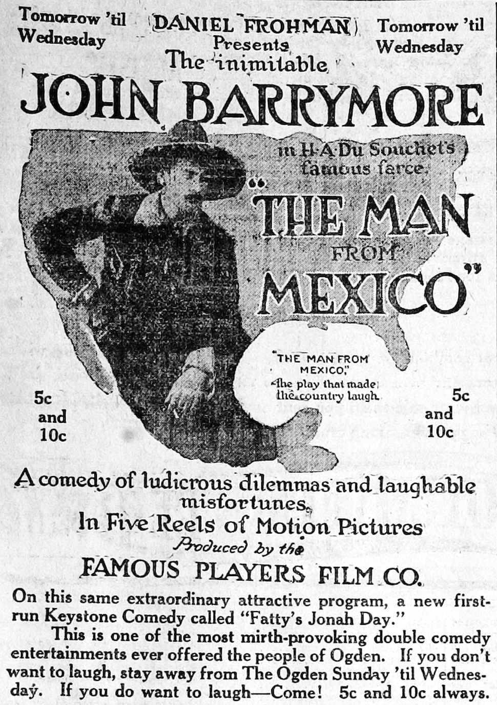 The Man from Mexico-1914-newspaperad