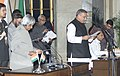 The President Dr.A.P.J.Abdul Kalam administering the Oath (Minister of State) to Shri Chandra Sekhar Sahu, in New Delhi on January 29,2006.jpg