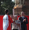 The President of the Indian Olympic Association, Shri Suresh Kalmadi receiving the Beijing Olympic torch from the Chief Minister of Delhi, Smt. Sheila Dikshit, at Raisina Hill, in New Delhi on April 17, 2008.jpg