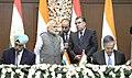 The Prime Minister, Shri Narendra Modi and the President of Tajikistan, Mr. Emomali Rahmon witnessing the signing of agreement, in Dushanbe, Tajikistan on July 13, 2015.jpg