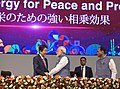The Prime Minister, Shri Narendra Modi and the Prime Minister of Japan, Mr. Shinzo Abe at the India-Japan Business Summit, in Mahatma Mandir, Gandhinagar, Gujarat (1).jpg