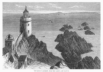 Les Casquets - Image: The Race of Alderney, from the Caskets (about 1868)