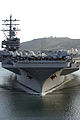 The aircraft carrier USS Ronald Reagan (CVN 76) and embarked Carrier Air Wing 14 transits through San Diego Harbor while returning to its homeport at Naval Air Station North Island, Calif., April 7, 2008, after 080407-N-HX866-002.jpg