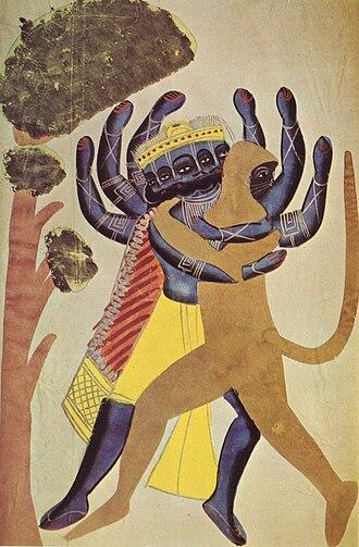 Kalighat painting - Ravana and Hanuman, Kalighat school of painting, c1880