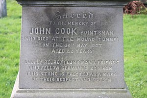 Switchman - The grave of John Cook, pointsman, Corstorphine, Edinburgh