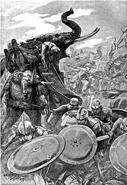 The phalanx attacking the centre in the battle of the Hydaspes by Andre Castaigne (1898-1899).jpg