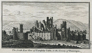 The south east view of Caerphily castle, in the county of Glamorgan