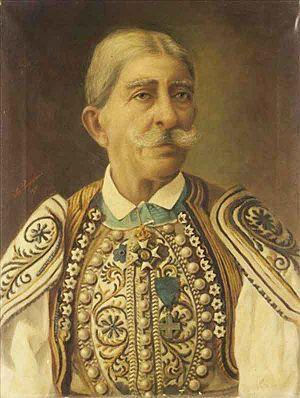 Spyridon Prosalentis - Portrait of Themistoklis Trikoupis (1807-1890),  a hero of the Greek Revolution.