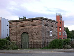 Thirlmere Aqueduct - Valve house between the Kellogg's factory and the fire station in Stretford, near Manchester
