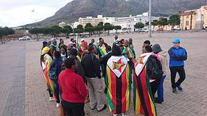 This flag 2016 Zimbabwe protests - Cape Town 2.jpg