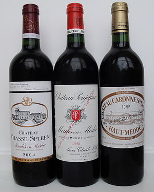 Cru Bourgeois - Three Cru Bourgeois wines. In the 2003 classification two were Crus Bourgeois Exceptionnels, Château Chasse-Spleen and Château Poujeaux, and one a Cru Bourgeois Supérieur, Château Caronne Sainte-Gemme.