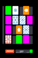 Bright purple and green tiles on a four-by-four grid, orange tiles with white arrows, tiles with numbers and patterns such as stripes, checkerboard, and houndstooth