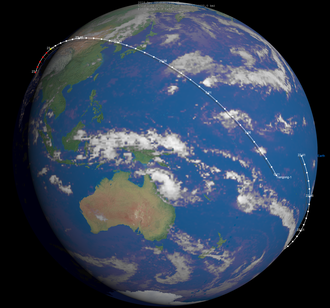Final orbit above the Pacific Ocean with 1 minute markers Tiangong 1-finalorbit.png